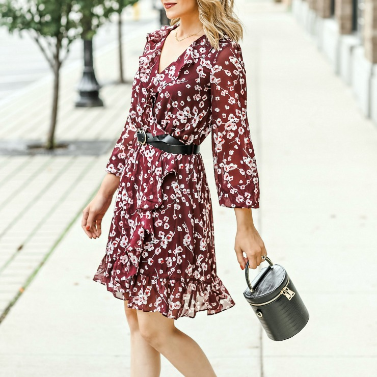 wine floral print dress