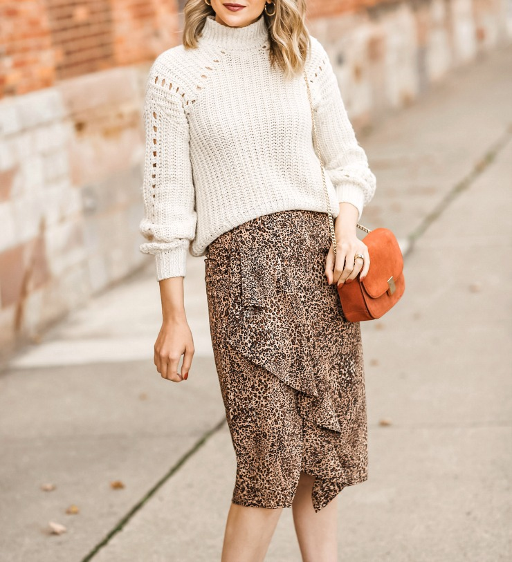 chunky sweater with midi skirt