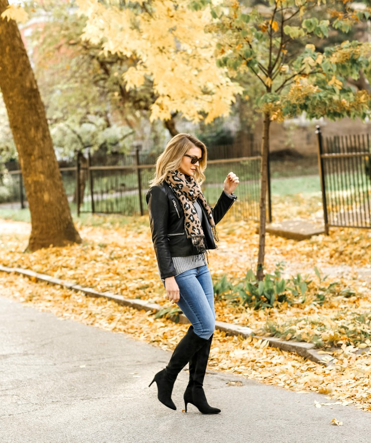 black moto jacket outfit