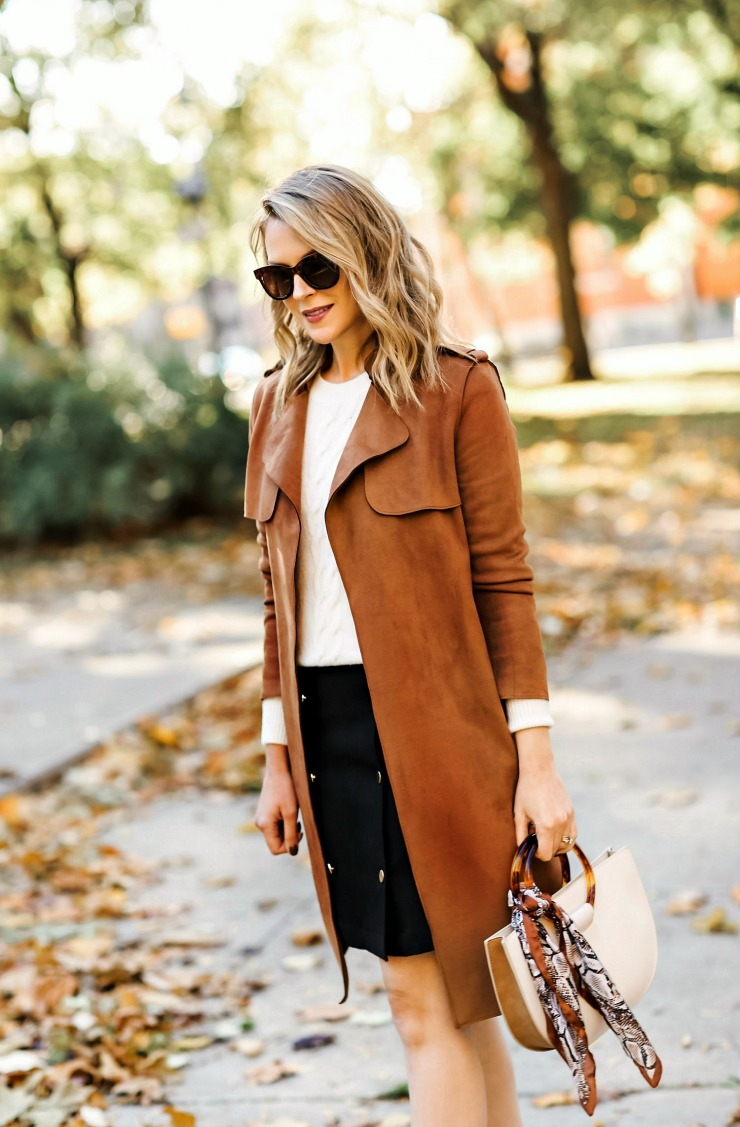 Cognac Suede Trench Coat