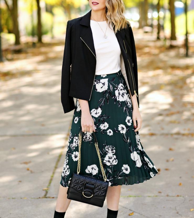 DKNY Floral Pleated Skirt