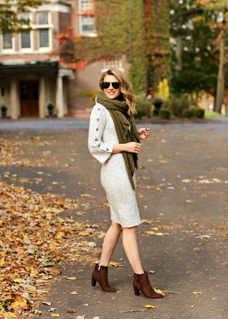 Button sleeve sweater dress