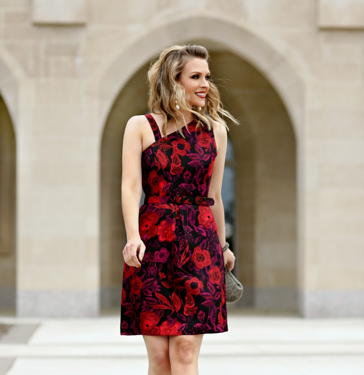 floral holiday party dress