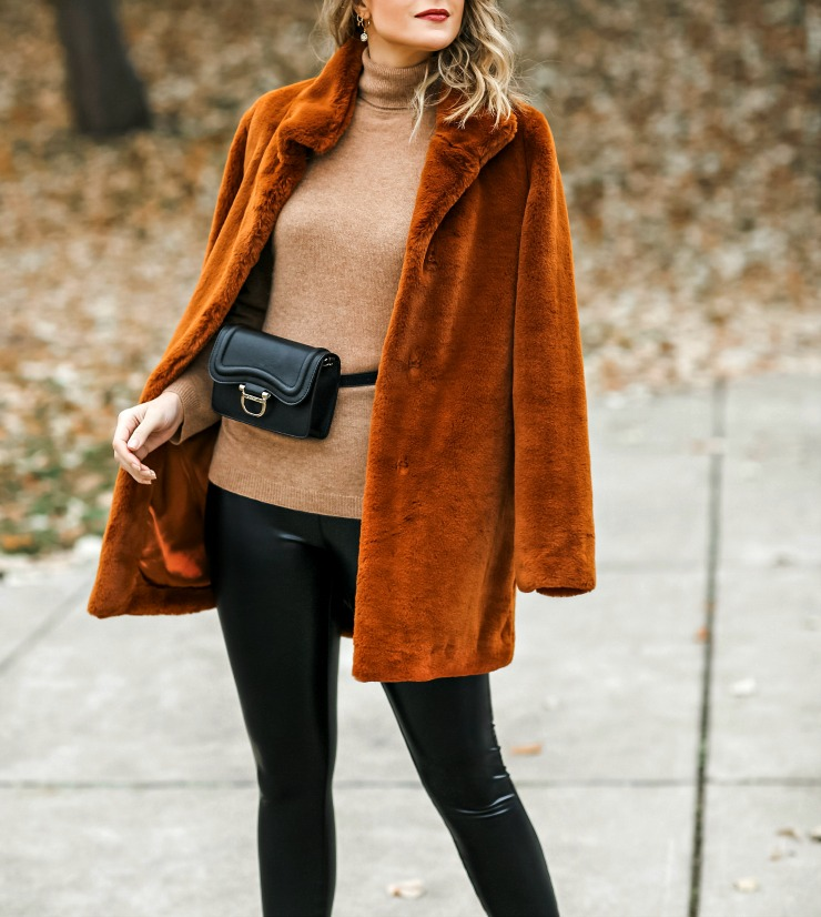 how to wear a belt bag in winter