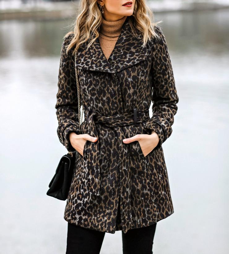 INC Leopard Belted Coat