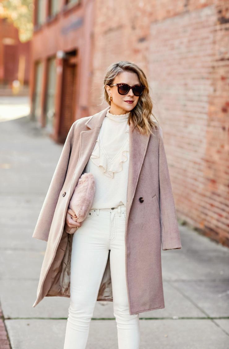 neutral brushed wool coat