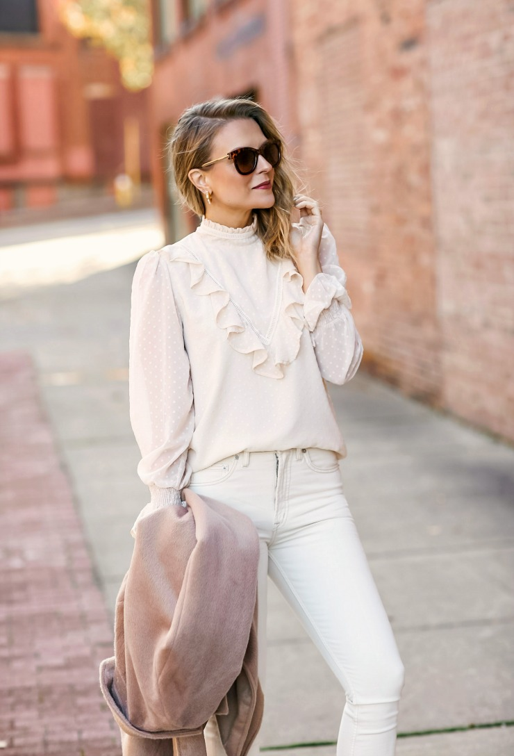 Swiss dot ruffled blouse