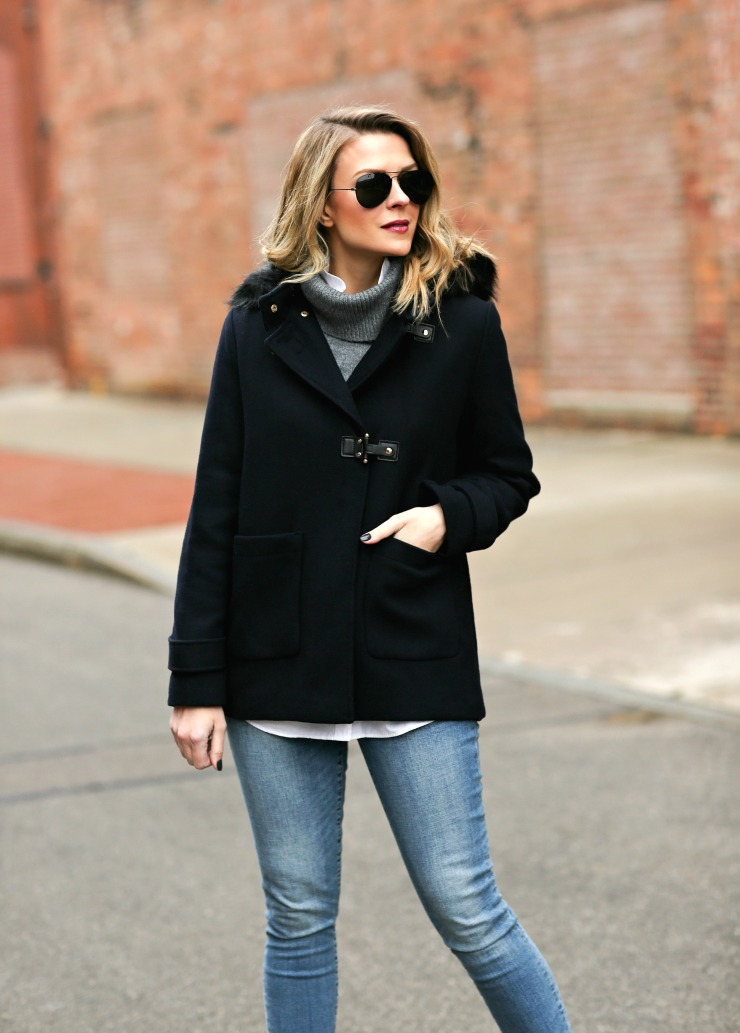 buckled wool coat