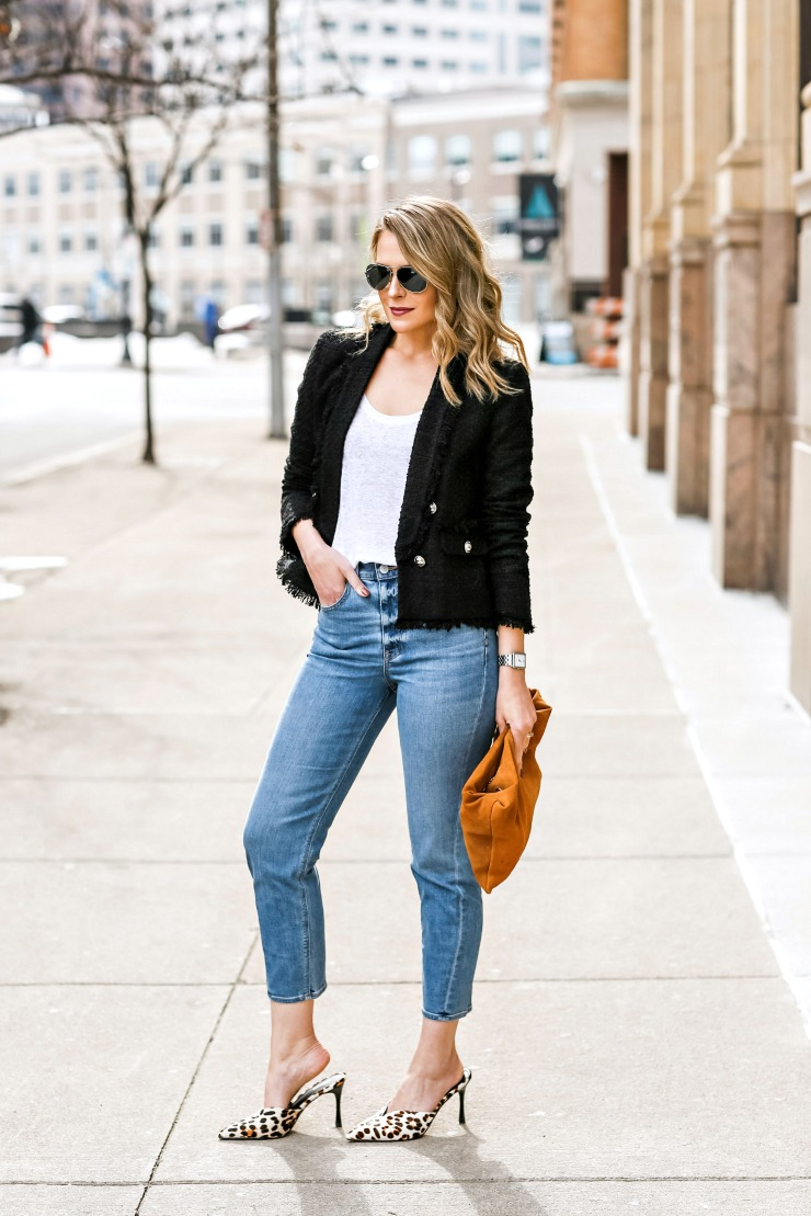 polished mom jeans outfit
