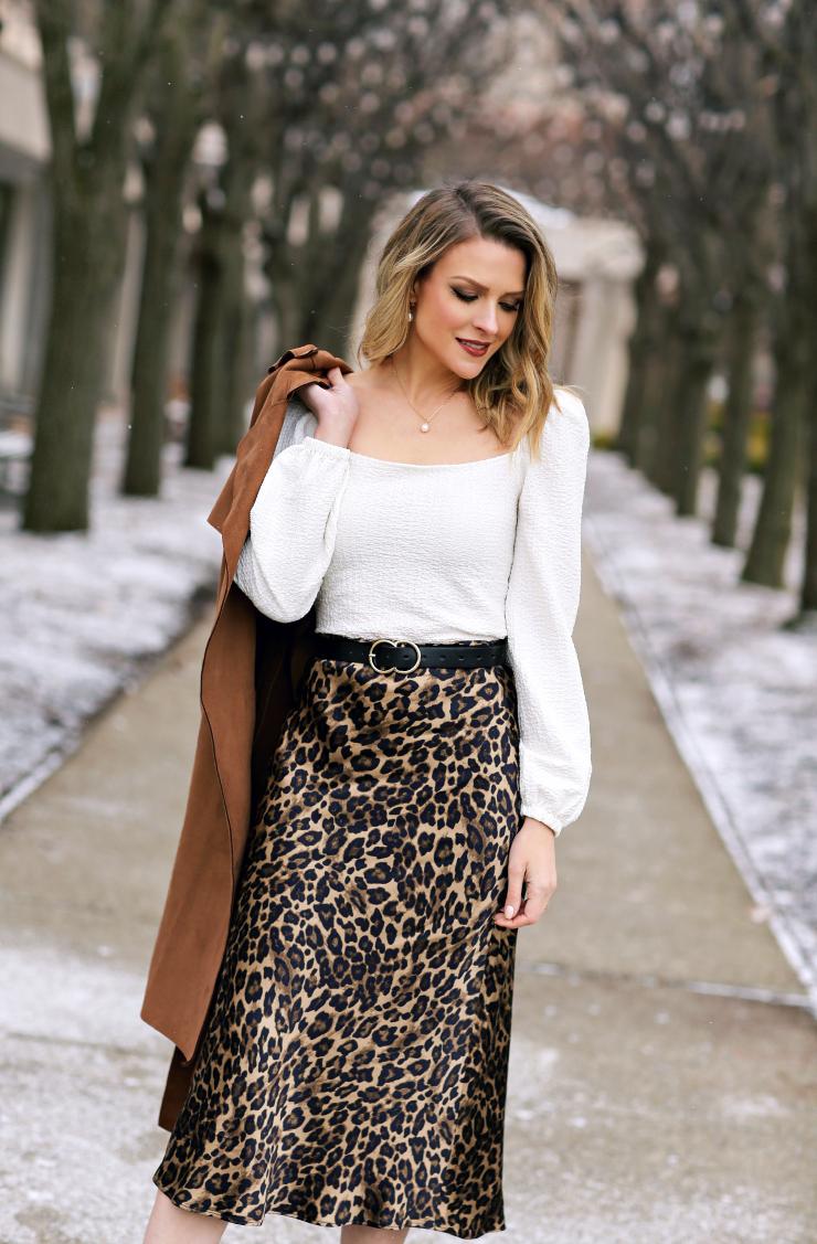satin leopard skirt