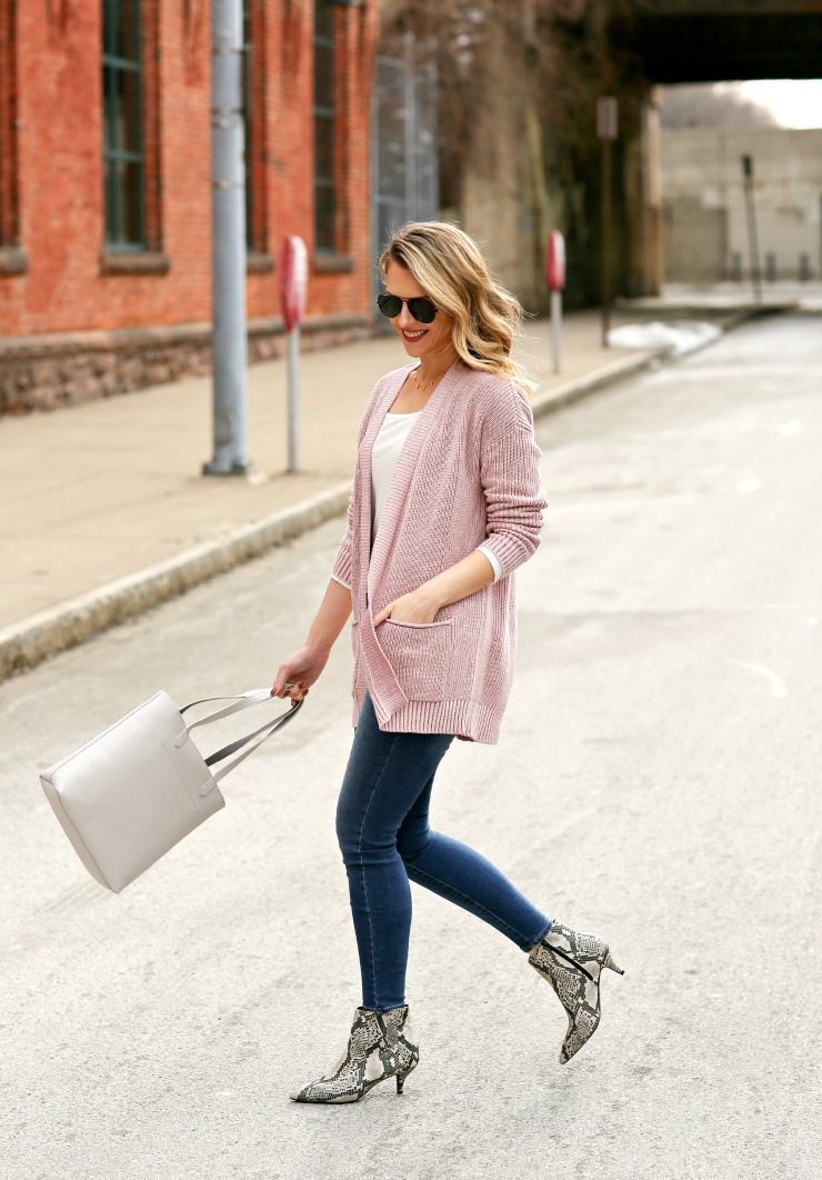 blush cardigan outfit