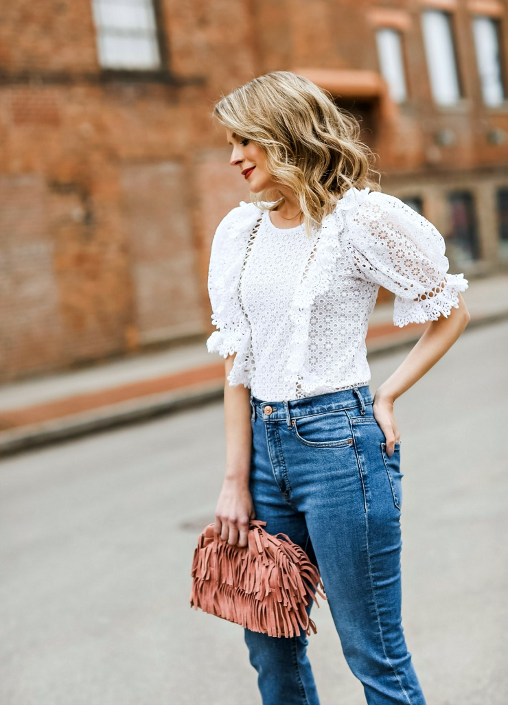 Express Ruffled Lace Top