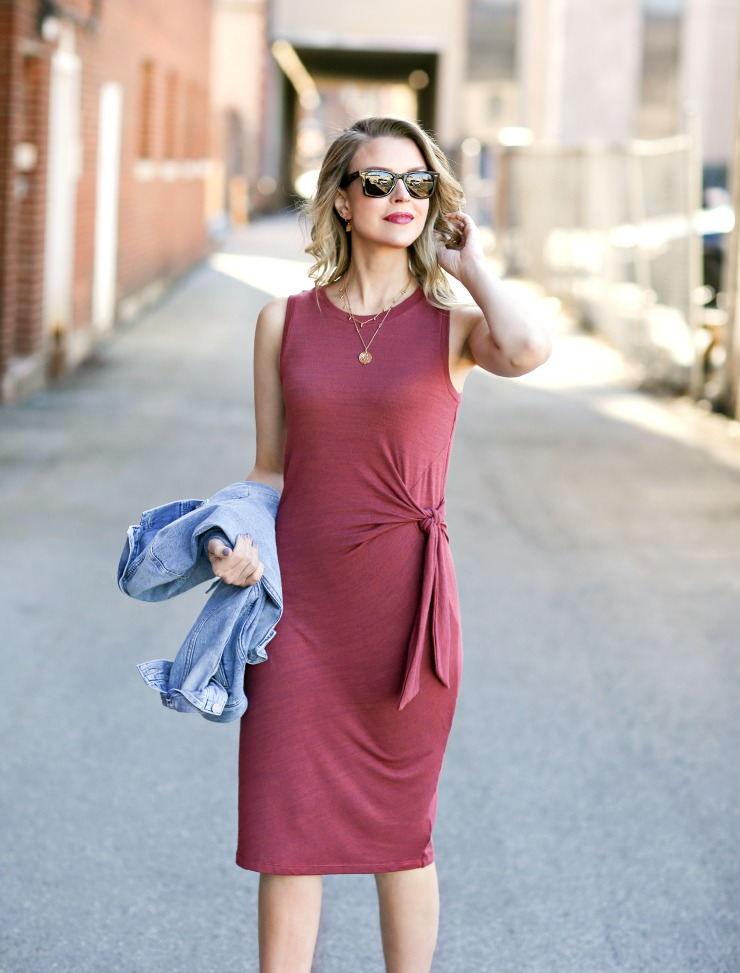 Gap softspun tie-front midi dress