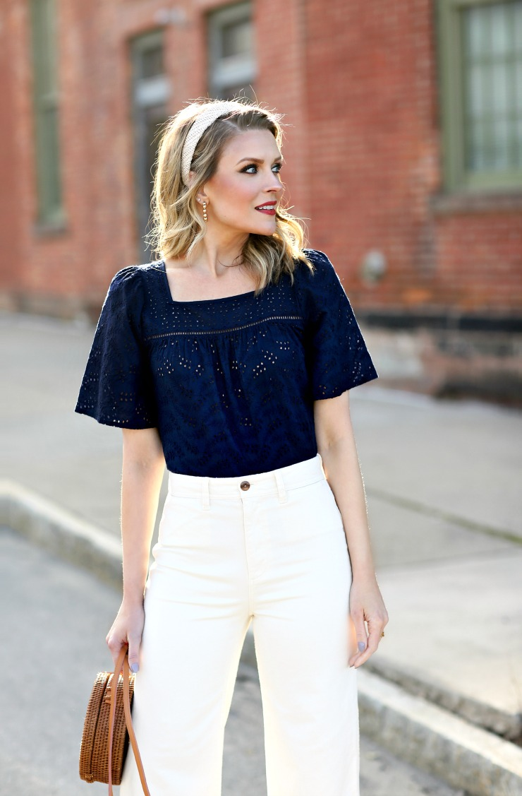 Gap eyelet peasant top