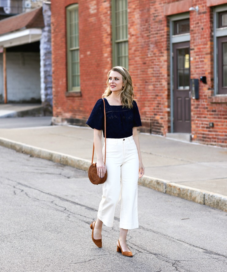 neutral wide leg crop pants