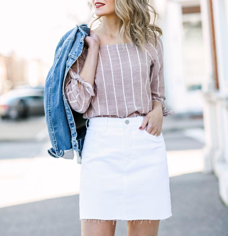 a.n.a white denim skirt