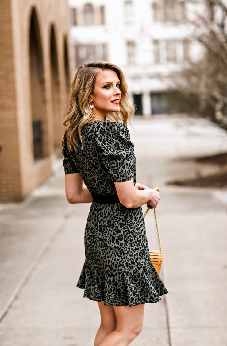 olive leopard print dress