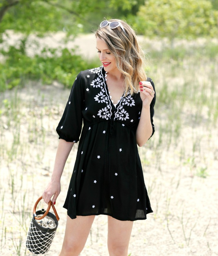embroidered beach cover-up