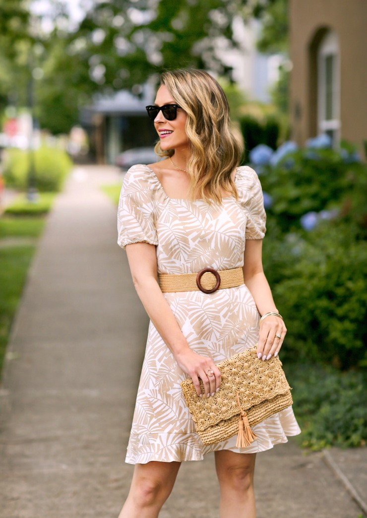LOFT Palm Tie-Back Flare Dress