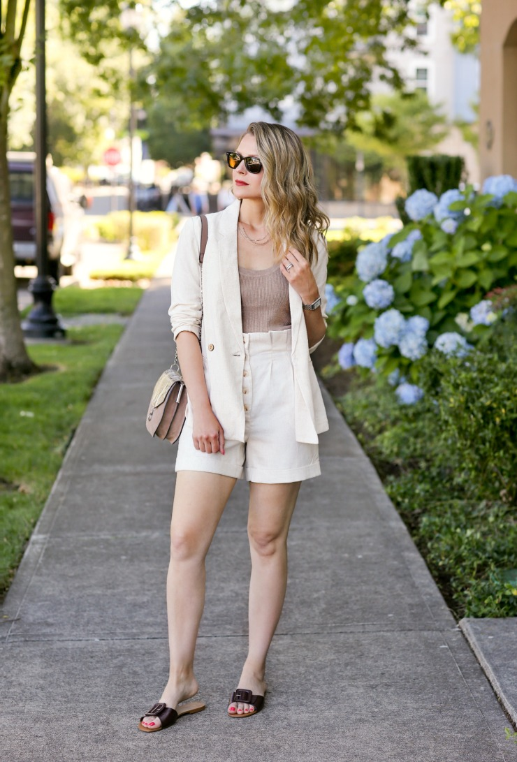 neutral linen short set