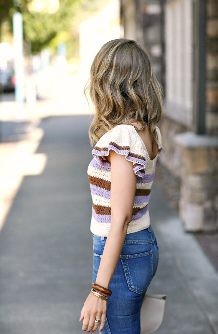 Mango Ruffled Crochet Sweater