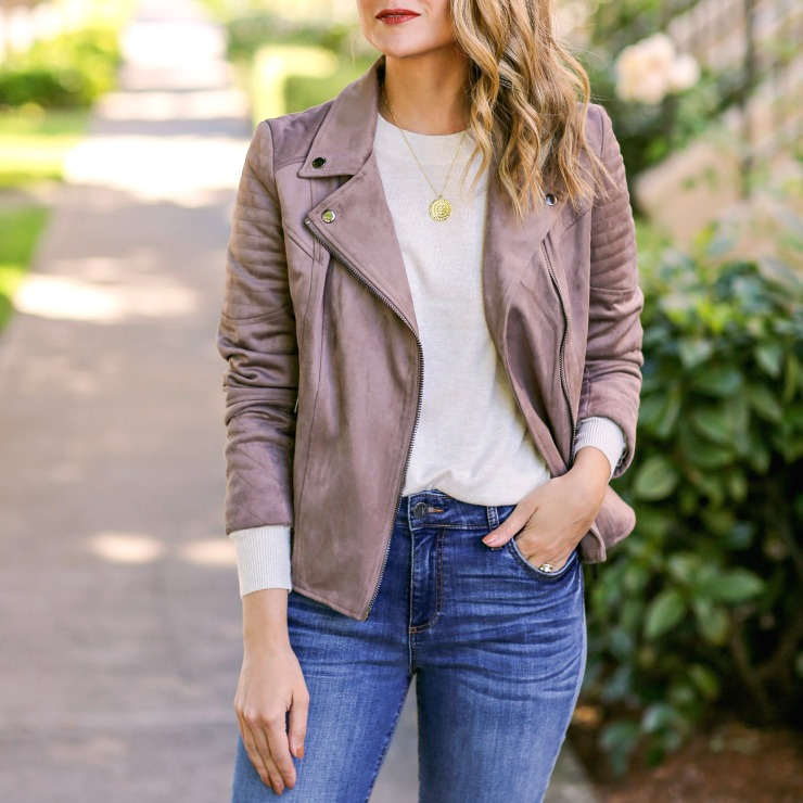 Taupe Faux Suede Moto Jacket