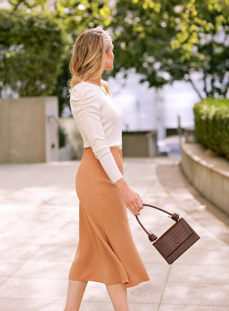 Express Satin Camel Midi Skirt