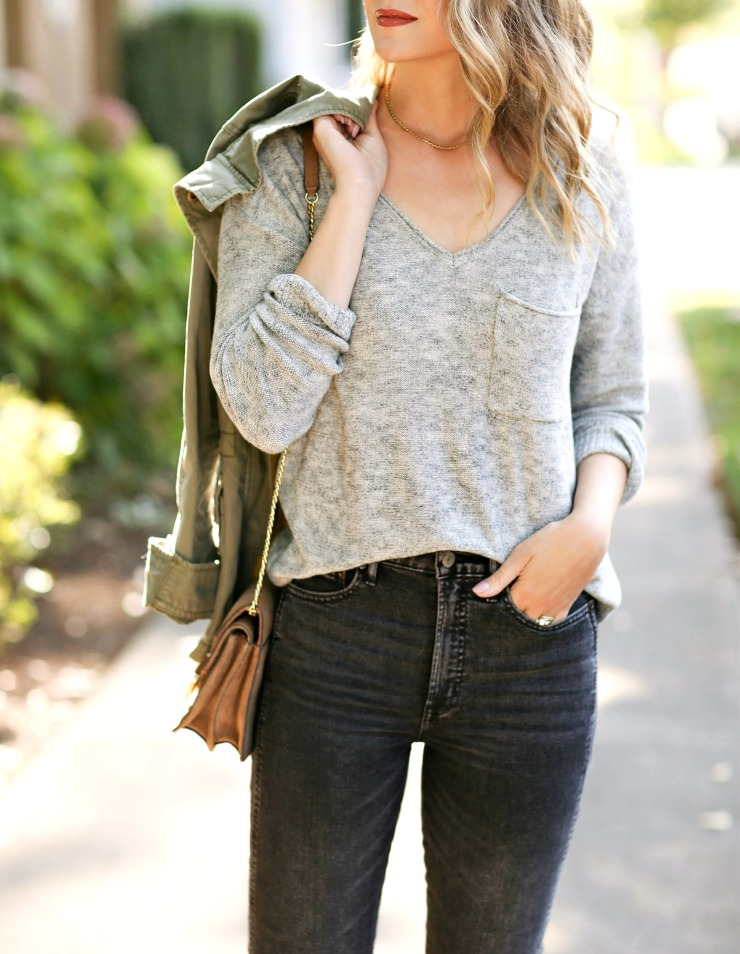 slouchy gray sweater
