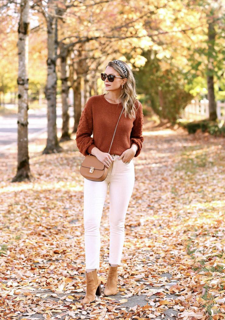 rust bobble sleeve sweater