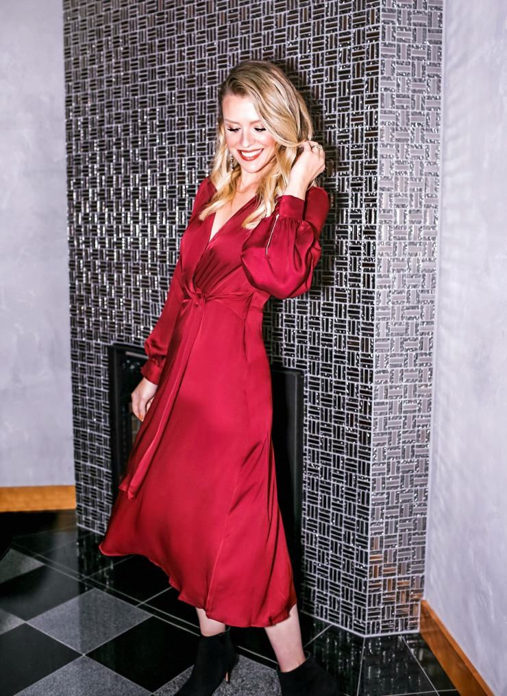 Burgundy satin dress