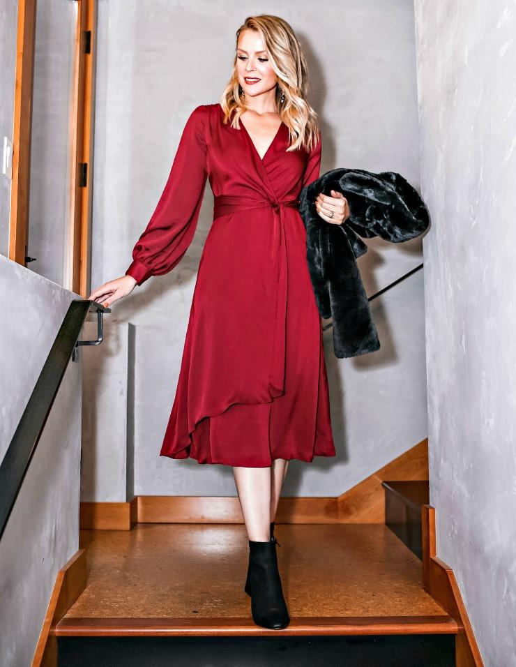Express Satin Twist-Front Dress
