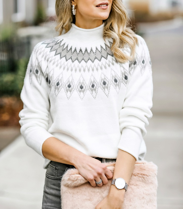 Fair isle mockneck sweater