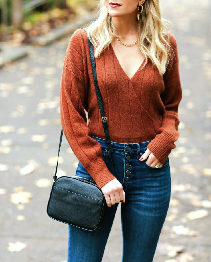 Leith ribbed wrap sweater