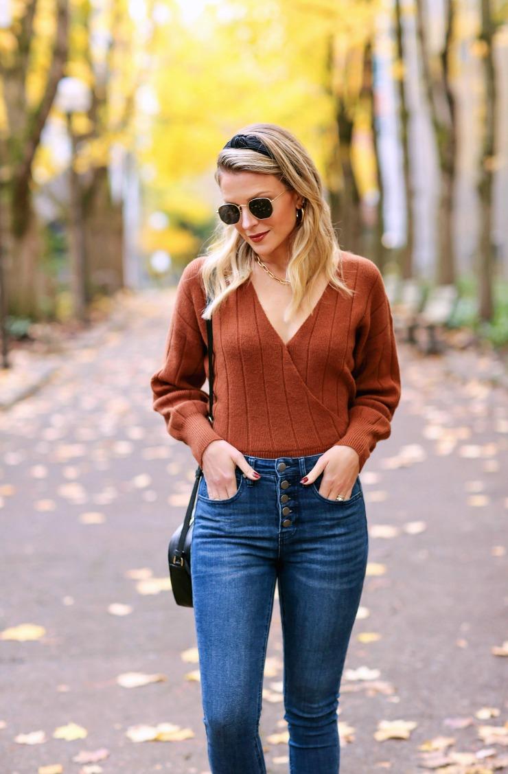 Rust wrap sweater