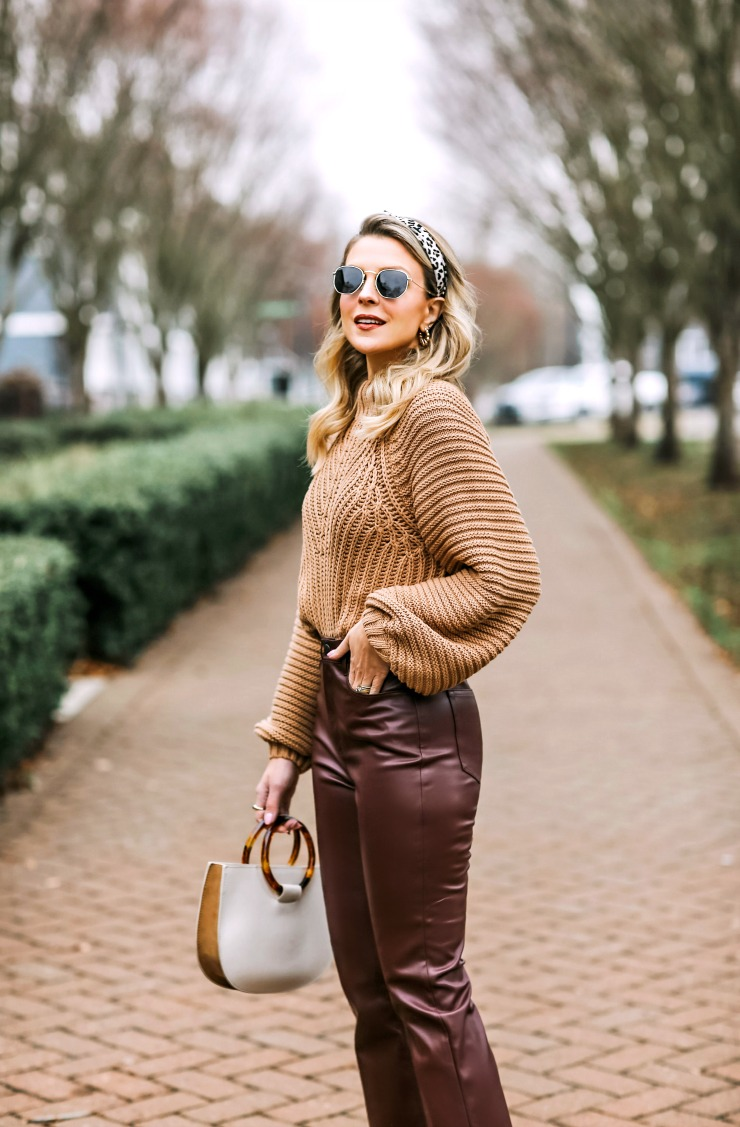 brown faux leather jeans
