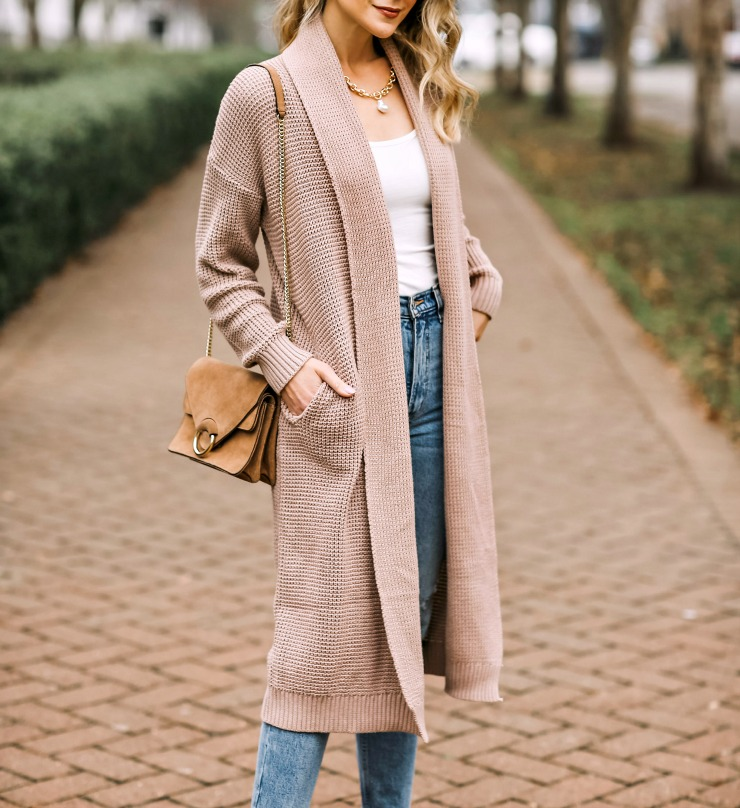 neutral duster cardigan