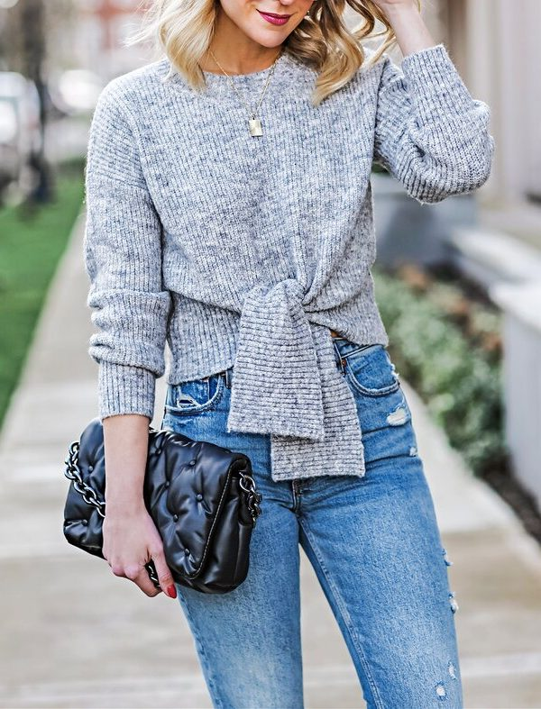 Knot-Front Ribbed Sweater
