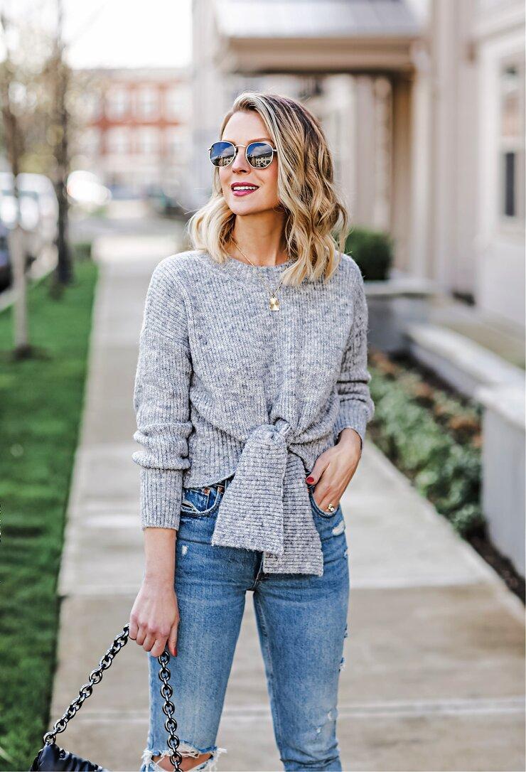Petal & Pup Tie-Front Sweater