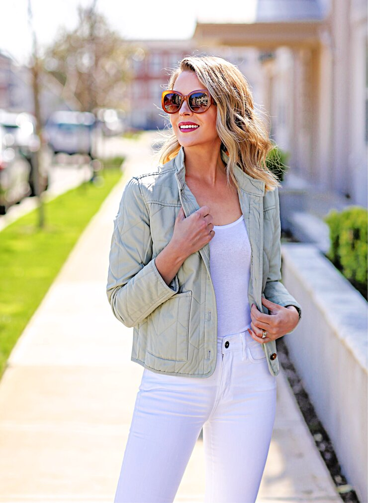 sage green quilted jacket