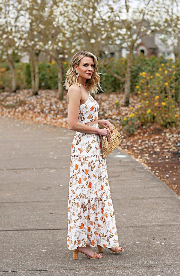 floral print two piece dress