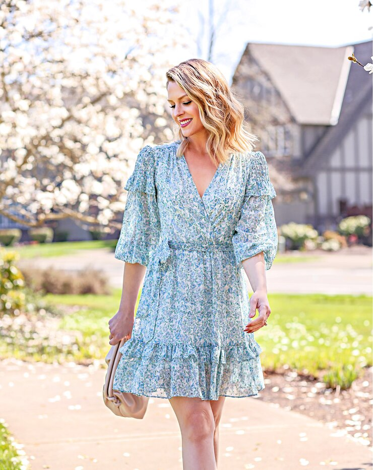 ruffled floral dres