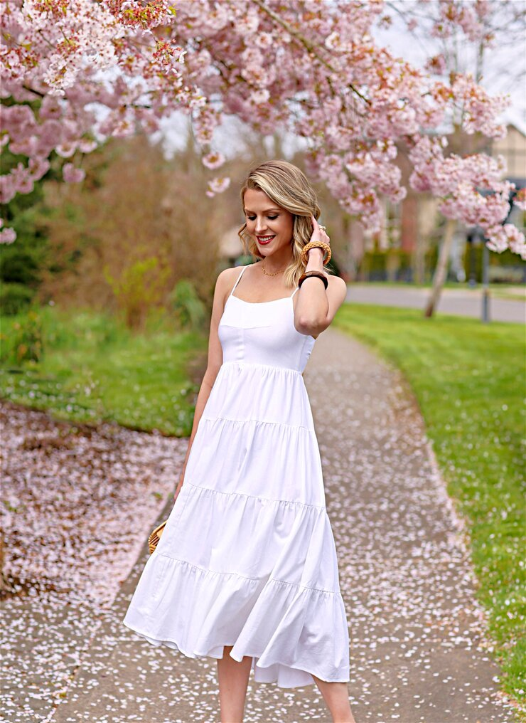 tiered white sundress